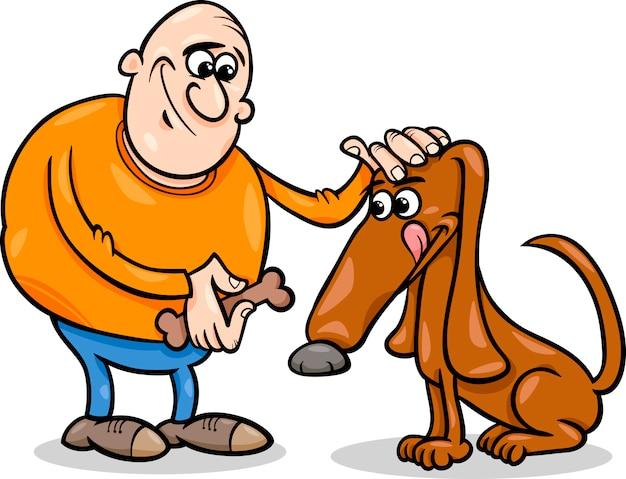 Illustrazione del fumetto uomo e cane