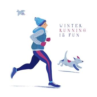 Uomo e cane in esecuzione, fare jogging in inverno