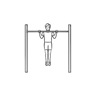 Uomo che fa pull-up sull'icona di doodle di contorni disegnati a mano barra orizzontale. esercizi, allenamento e concetto di allenamento