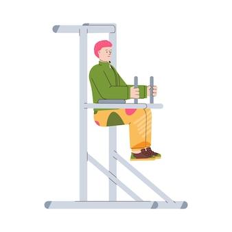 Uomo che fa esercizi sportivi in illustrazione piatto telaio trainer