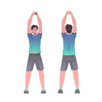 L'uomo che fa gli esercizi di forma fisica di yoga che prepara il tipo sano di concetto di stile di vita che risolve la vista posteriore anteriore ha isolato l'illustrazione integrale