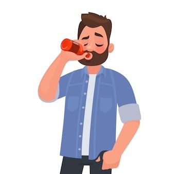 Uomo che beve birra da una bottiglia. dipendenza da alcol.