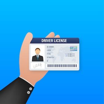 Modello di carta di plastica della patente di guida dell'uomo. carta d'identità