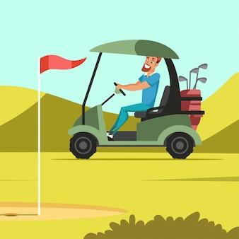 Uomo che guida un'auto elettrica all'illustrazione del campo da golf, lavoratore del club che trasporta bastoni da golf e cunei, priorità bassa del prato di erba primaverile, parco verde con buchi, bandiere