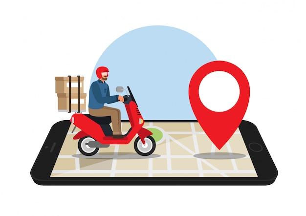Uomo alla guida di una moto su una mappa gps su uno smartphone. servizio di consegna.