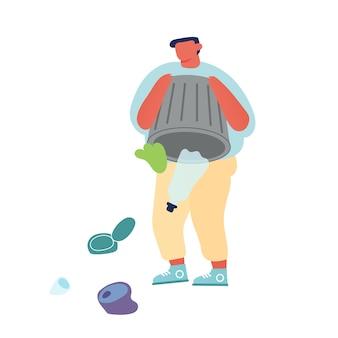 Uomo che scarica immondizia a terra o in acqua che getta rifiuti dal cestino