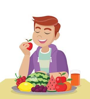 Uomo che mangia frutta fresca e sana