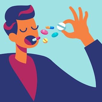 Uomo che mangia molti farmaci illustrazione
