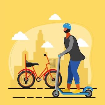 Uomo su scooter elettrico
