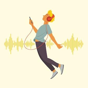 L'uomo gode di ascoltare e fluttuare nello spazio con l'onda sonora.