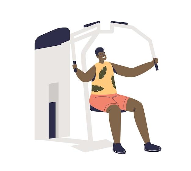 Uomo che si esercita su macchine sportive palestra allenamento muscoli delle braccia. giovane maschio sull'apparato del trainer. concetto di sport, fitness e allenamento