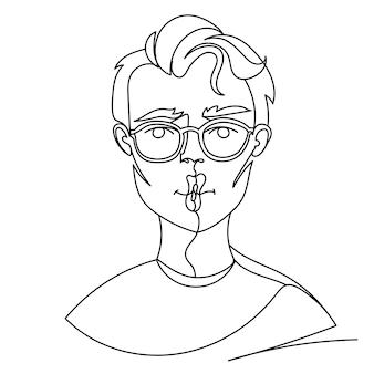 Uomo in occhiali in posa bacio ritratto una linea arte. espressione facciale maschile. sagoma di uomo lineare disegnato a mano.