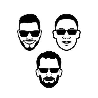 Fronte dell'uomo con gli occhiali neri