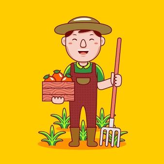 Professione di agricoltore uomo in stile cartone animato piatto