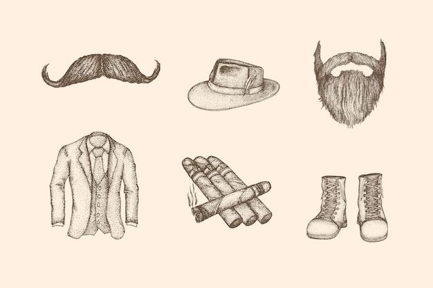 Illustrazione dell'annata di moda uomo con stile disegnato a mano