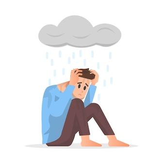 Un uomo si sente depresso isolato su bianco