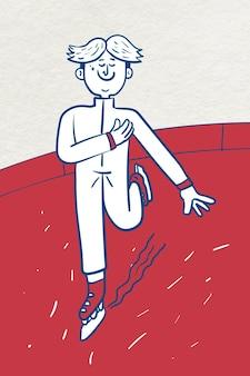 Vettore di pattinaggio di figura dell'uomo