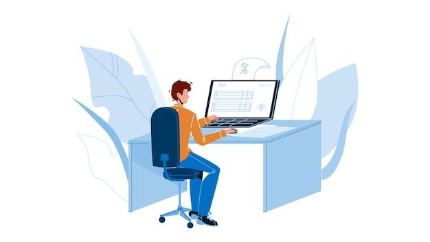 Uomo che compila il modulo fiscale online sul computer