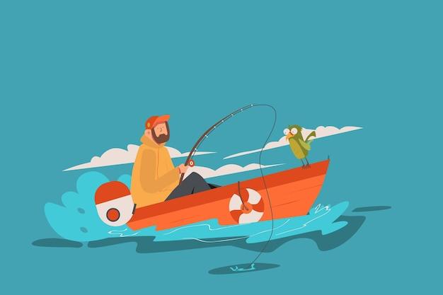 Illustrazione dell'uomo che pesca in barca