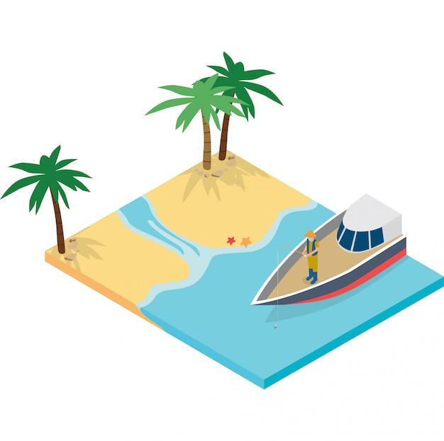 Un uomo che pesca su una barca illustrazione