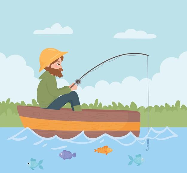 Uomo che pesca sulla barca nel fiume