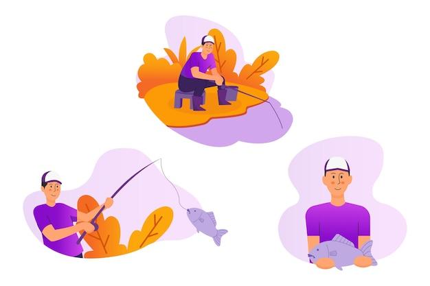 Illustrazione di pesca dell'uomo