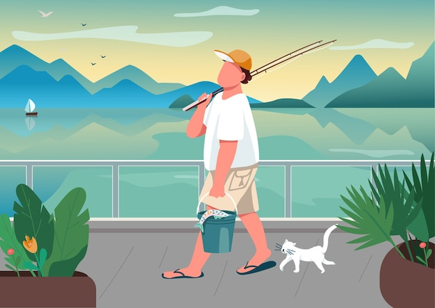 Canna da pesca dell'uomo all'illustrazione di colore piatto di zona del lungomare. pescatore maschio con gatto. tempo libero estivo.