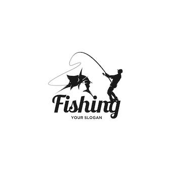 Vettore del logo della siluetta di pesca dell'uomo