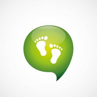 Uomo impronte icona verde pensare bolla simbolo logo, isolato su sfondo bianco