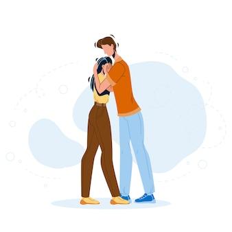 L'uomo perdona e abbraccia il rapporto della donna