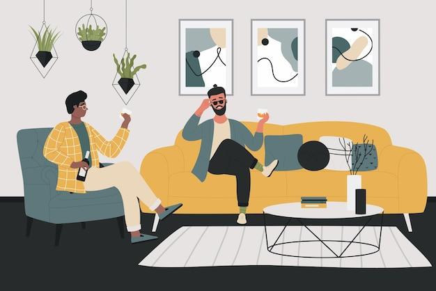 Personaggi amico dell'uomo seduto sul divano nel soggiorno di casa