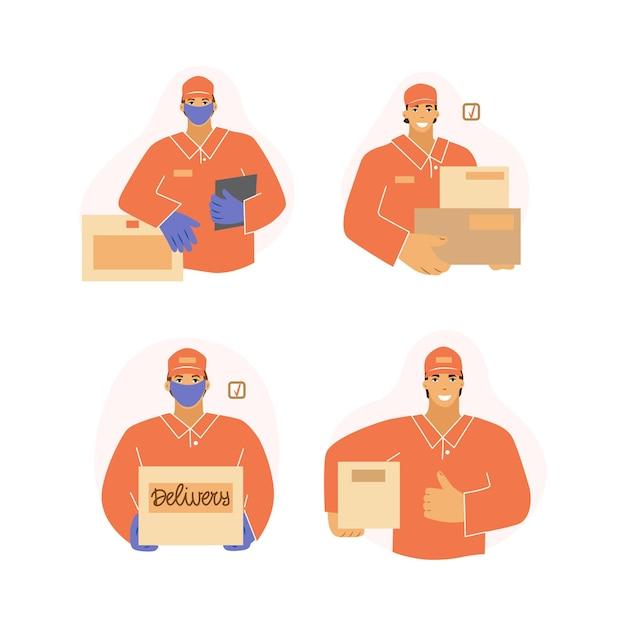 L'uomo dal set di consegna. corriere mascherato e guantato, prevenzione del coronavirus.