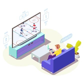 Giocatore dell'uomo in cuffia che gioca al videogioco di hockey su ghiaccio in tv illustrazione isometrica di vettore gioco online...