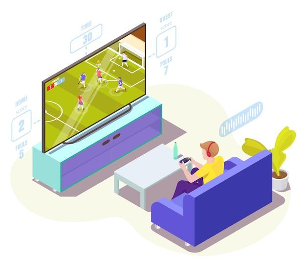 Giocatore dell'uomo in cuffia che gioca al videogioco di calcio sull'illustrazione isometrica di vettore della tv calcio online...