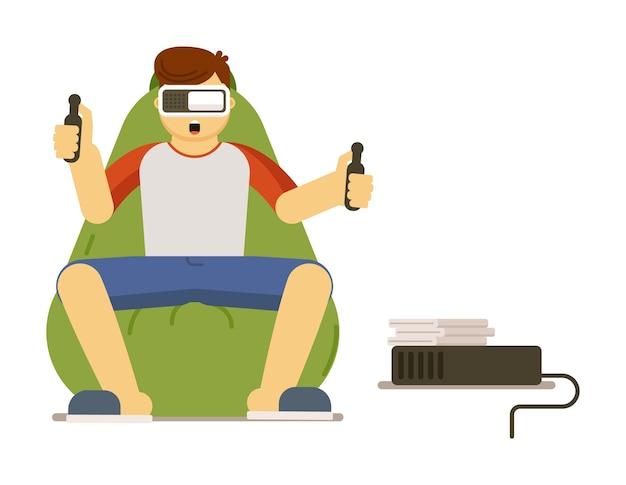 Il giocatore dell'uomo che gioca il videogioco di simulazione di realtà virtuale negli occhiali di protezione di vr resta a casa l'illustrazione isolata su fondo bianco