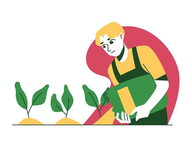 Uomo giardinaggio pianta versando fertilizzante