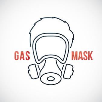 Uomo in icona linea maschera antigas isolato su sfondo bianco