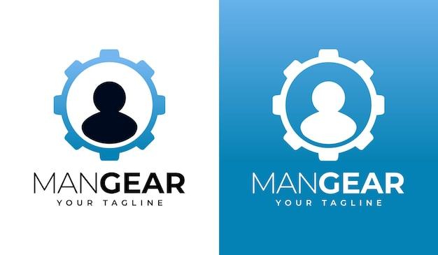 Design creativo del logo dell'ingranaggio dell'uomo