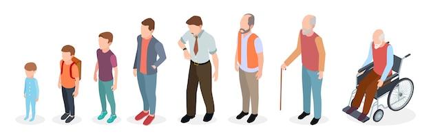 Generazioni di uomini. adulto isometrico, personaggi maschili vettoriali, bambini, ragazzo, vecchio, evoluzione dell'età umana