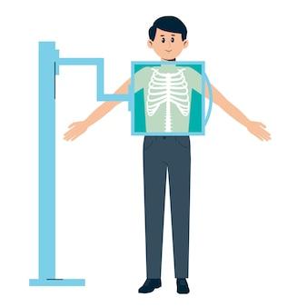 Uomo che riceve un controllo a raggi x. trattamento medico del torace. esame radiografico.