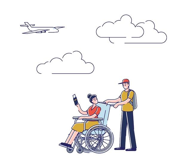Uomo e ragazza in sedia a rotelle che camminano a bordo dell'aereo. maschio che aiuta la donna invalida che tiene biglietto e passaporto in aeroporto