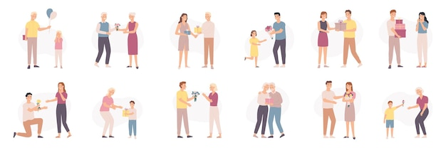 Uomo che dà fiori. uomini di età diverse regalano bouquet e regali a donne e bambini, compleanno regalo floreale o giorno di san valentino, set vettoriale. illustrazione bouquet romantico per fidanzata, coppia di relazioni