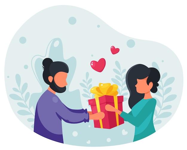 Uomo che fa un regalo a una donna. donna con un regalo. un regalo per la tua amata. illustrazione in uno stile piatto.