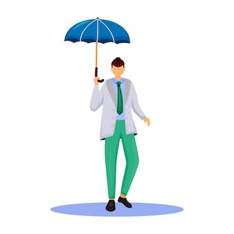 Uomo in carattere senza volto colore design piatto giacca grigia