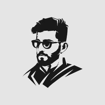 Logo mascotte stile capelli uomo per barbiere