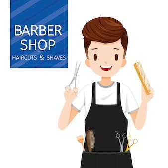 Parrucchiere uomo con attrezzature negozio di barbiere