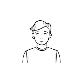Icona di vettore disegnato a mano dell'uomo. icona di doodle di contorno di un commerciante di uomo. illustrazione di schizzo per stampa, web, mobile e infografica isolato su sfondo bianco.