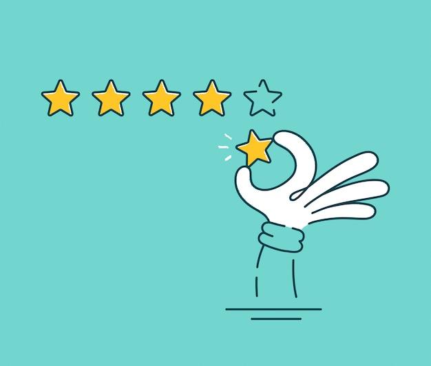 Mano dell'uomo che dà una valutazione di cinque stelle. linea piana icona del carattere dell'illustrazione del fumetto di vettore