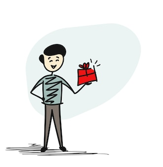 Man mano che tiene il contenitore di regalo, concetto di schizzo disegnato a mano del fumetto isolato illustrazione vettoriale.