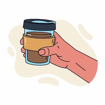 Mano dell'uomo che tiene tazza termica riutilizzabile. giornata mondiale dell'ambiente e concetto di giornata della terra. tazza termica con caffè in mano dell'uomo. zero rifiuti illustrazione piatta. mano dell'uomo che tiene una tazza termica da bere.